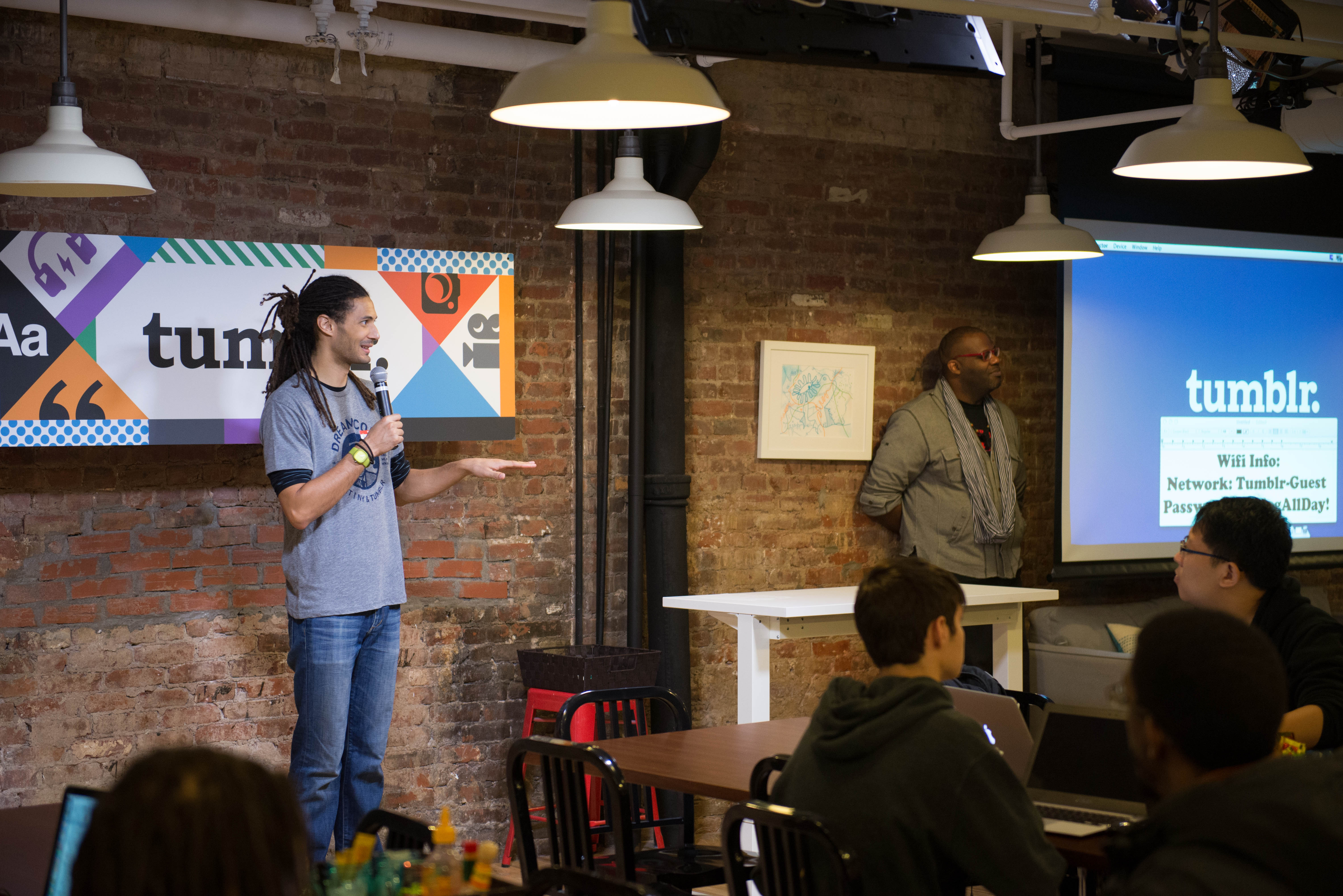 MLK Dream Code organizer Kyle Wanamaker addresses hackers at Tumblr headquarters (Image: Kevin Steck)