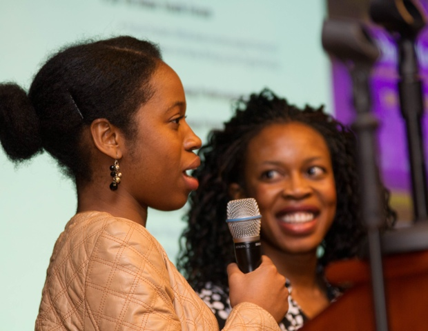 Nekpen Osuan and Demi Ajayi of Womenwerk.com, presenting during the pre-panel event.