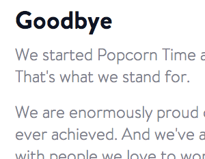 Pirate Streaming App Popcorn Time Shuts Down