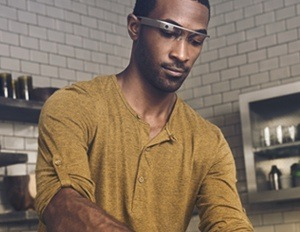 black man wearing google glass
