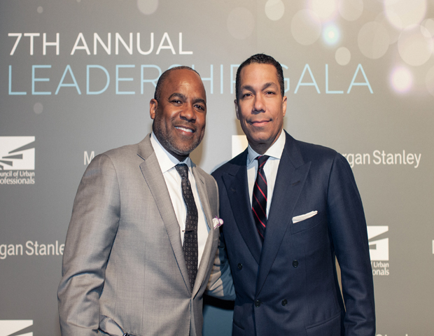 Valentino D. Carlotti, of Goldman Sachs, and Colbert Narcisse, of Morgan Stanley, attended to join the celebration of service in leadership.