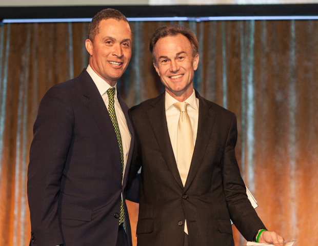 Former Congressman Harold Ford Jr. presented Gregory Fleming, of Morgan Stanley, with the New York City Vision Leadership Award.