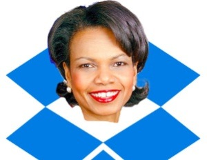 Drop-Dropbox.com used this picture of Dr. Rice in its manifesto against her appointment to the company's Board of Directors.