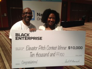 Me with Elevator Pitch Winner Gwen Jimmere of Naturalicious. (Image: Alfred Edmond Jr.)