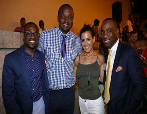 Kai Wright of Revolt TV, is seen with Kwame Jackson, CEO of Krimson by Kwame, Anahi Angelone, owner of Harlem's Corner Social NYC & Greg Smiley, a Boys and Girls Club board member. (Image: 135th Street Agency)