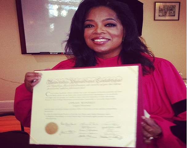 During her 2008 commencement speech at Stanford University, Oprah shared with the graduating class that she left Tennessee State University one credit shy of graduating in order to focus on her television career. Years later in 1987, with a nationally syndicated show under her belt, an Oscar nomination and her own company Harpo, Winfrey was asked to return to her alma mater to speak at their commencement. With the desire to complete her degree, she told the university that she couldn't speak unless she earned her last credit and graduated, and it was then when Winfrey completed her necessary coursework and became a college graduate. Since then Winfrey has also earned several honorary degrees from Harvard, Duke and Princeton. (Photo: Instagram)