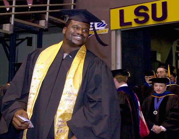 After spending three years as a star basketball player at Louisiana State University, Shaquille O'Neal left LSU for the NBA. With the collection of MVP awards and national team championships, O'neal was making his basketball dreams a reality, but there was still one goal he hadn't accomplished. With the help of summer classes and LSU's independent studies program, O'Neil returned to college and earned his bachelor's degree in 2000.