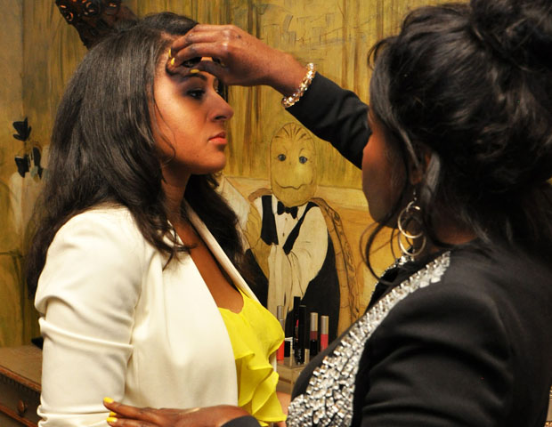 Kim Roxie did cosmetics touch ups for attendees.