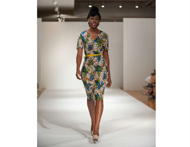 Pieces by Tiagbe of Kososhi were showcased featuring simple, 1950's silhouettes. with colorful and patterned designs, fitting for the workplace or an elegant evening out in town.
