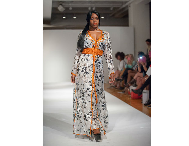 Khadijah Mouh of Morocco Caftan New York worked alongside her daughter to showcase menswear and womenswear. Her stylized caftans were bold in color creating a fun feel to her clothes. Her style for women was long and flowy with her signature hand embroidered detailing on the bodice.