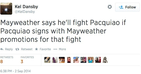 Kel Dansby Tweet Regarding Mayweather Fighting Pacquiao
