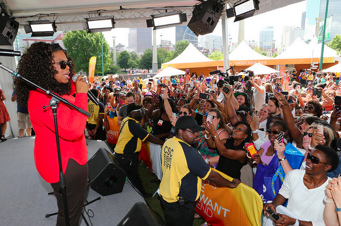 Oprah Winfrey surprising guests on stage at 'O Town' at Centennial Park in Atlanta, GA during the first stop of her eight-city U.S. arena tour