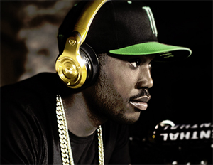 Hip-hop artist and producer Meek Mill is seen in Monster 2k4 headphones. (Image: Monsterproducts.com)
