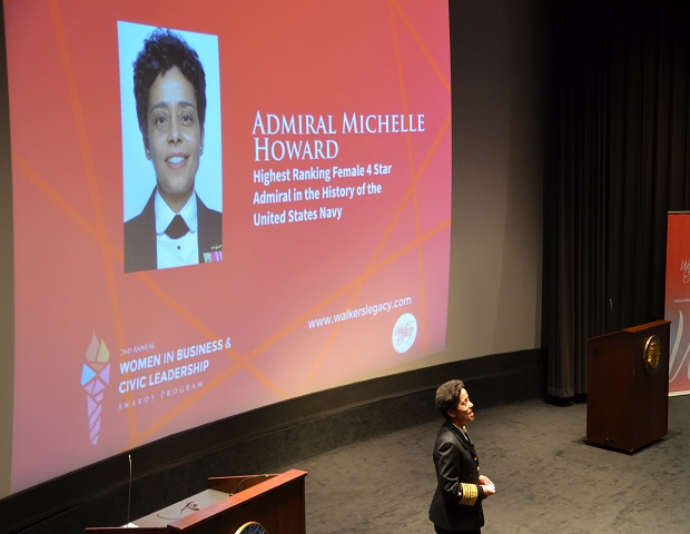 Admiral Michelle Howard addresses the crowd (Image: Walker's Legacy)