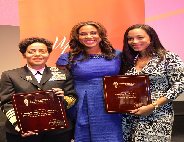 Admiral Michelle Howard and Angela T. Rye, Esq. hold their awards. (Image: Walker's Legacy)