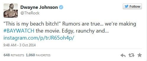 Dwayne Johnson's Tweet Regarding Baywatch