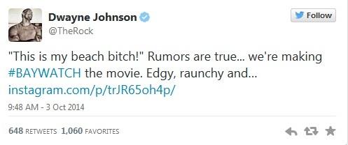 Dwayne Johnson's Tweet Regarding Baywatch