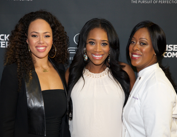 Recording artist Elle Varner is seen with entertainment manager and TV star Yandy Smith and chef Kimberly Van Kline.