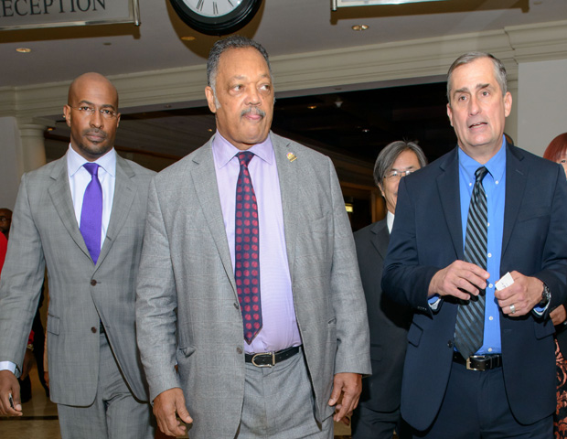 Van Jones, the Rev. Jesse Jackson and Intel CEO Brian Krzanich at the Wall Street Project Economic Summit in New York (Image: Margot Jordan)