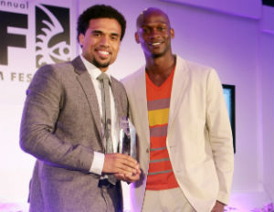 [HBO's Dennis Williams (right) with 2013's ABFF Short Film Competition winner]