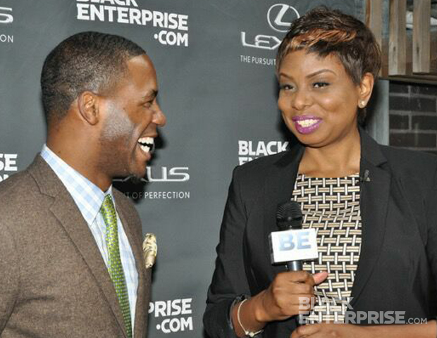 """During red carpet-style interviews, guest Kevin """"Mr. Moviefone"""" Thompson talked brands and his version of """"The Good Life"""" with BlackEnterprise.com Associate Managing Editor Janell Hazelwood. (Images: Christian Harris)"""