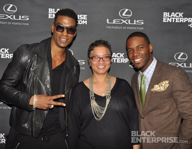 """Bobby Roache and Kevin """"Mr. Moviefone"""" Thompson enjoy a moment with Black Enterprise vice president and director of digital, Shelly Jones Jennings."""