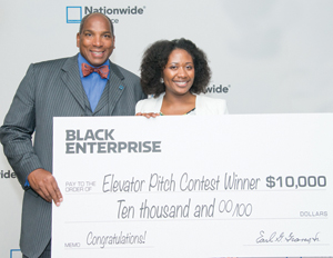 "Black Enterprise CEO Earl ""Butch"" Graves Jr. and 2014 Elevator Pitch winner Gwen Jimmere"
