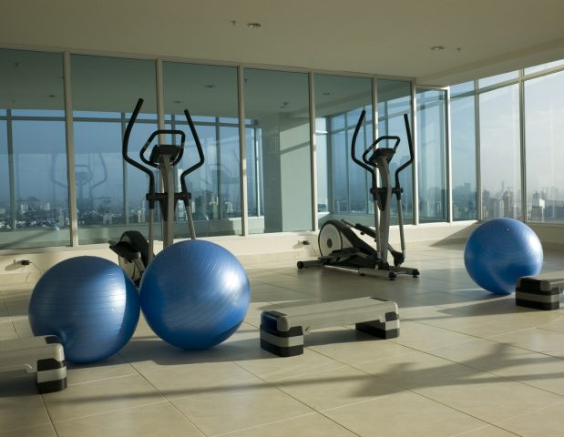 Condo Gym on top of Condo tower in Panama City.