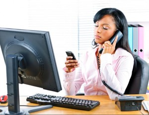 Black career woman multitasking