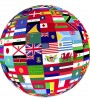 image of a globe of flags