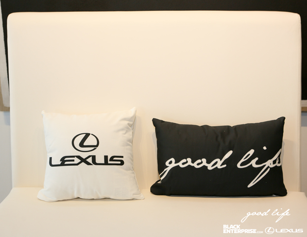 Custom Lexus and Good Life pillows filled the sofas at Long View Gallery.