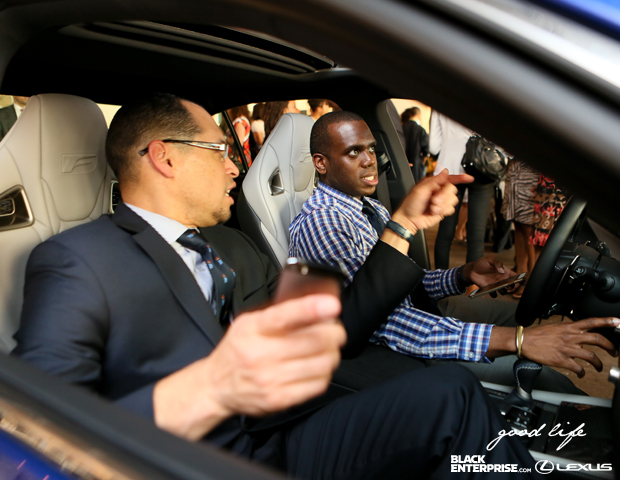 Centerplate's Nigel Marshall and Lexus Alphonso Baker test some of Lexus latest features.