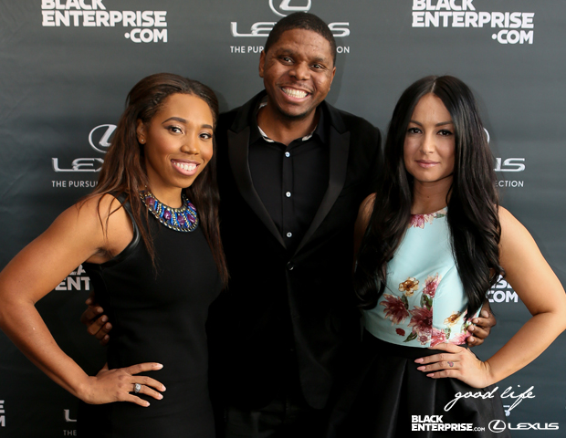 Personal trainer Deanna Jefferson, celebrity chef JR Robinson and red-carpet host Sunni pose together.