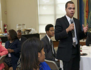 Rasaan Hollis, senior at Xavier University and Gateway to Leadership Scholar, speaks at UNCF's 2015 Student Leadership Conference. (Image: Lionel L. Foreman, DLL Production)
