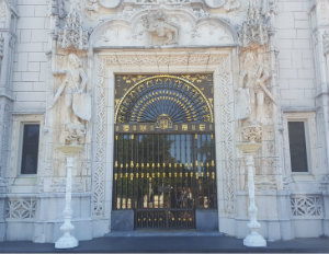 The majestic front door of the Hearst Castle