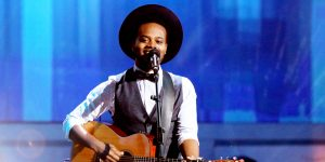 "Travis Greene performs on BET's ""Joyful Noise"" program."