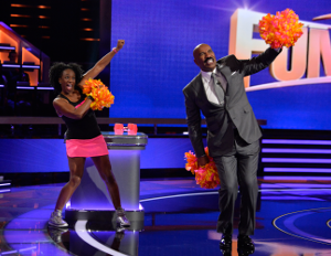 Pound Poms creator Sherry Leetham with Steve Harvey on Steve Harvey's Funderdome