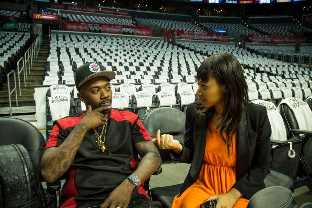 Ray J and Sequoia Blodgett talking tech at the Staples Center (Image: File)