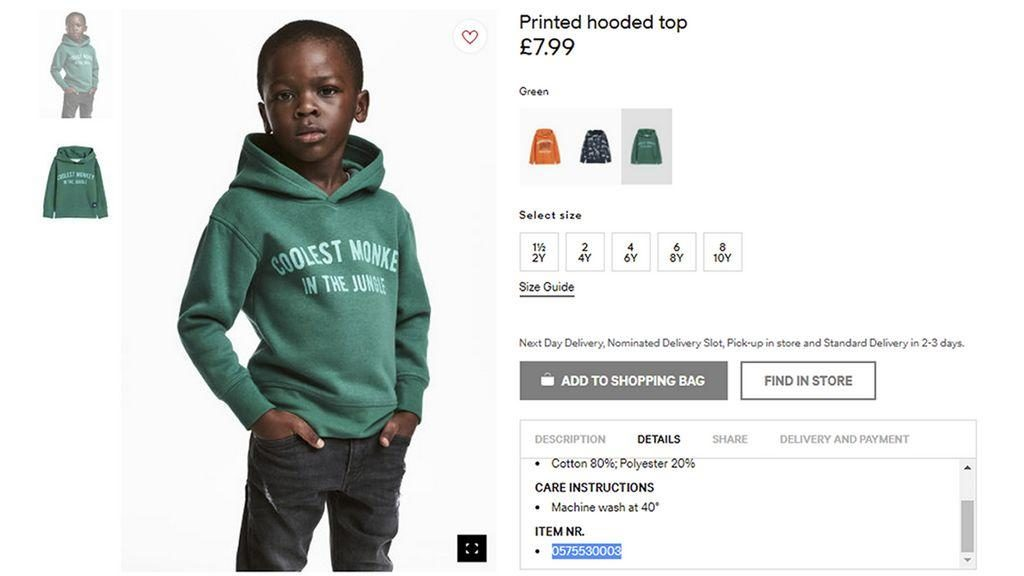 "d70df3c3f In Jan 2018, H&M releases an ad featuring a black child modeling a green  hooded sweatshirt emblazoned with the phrase ""coolest monkey in the jungle."