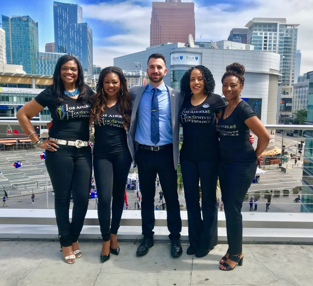 L to R: LaShonda Johnson, Kasinda Williams Ryan Mellon, Los Angeles, Clippers, Cheri Gardner, Mary Johns, of the Los Angeles Housewives of Finance, a Chapter of the Houston Housewives Of Finance (Image: HHOF)