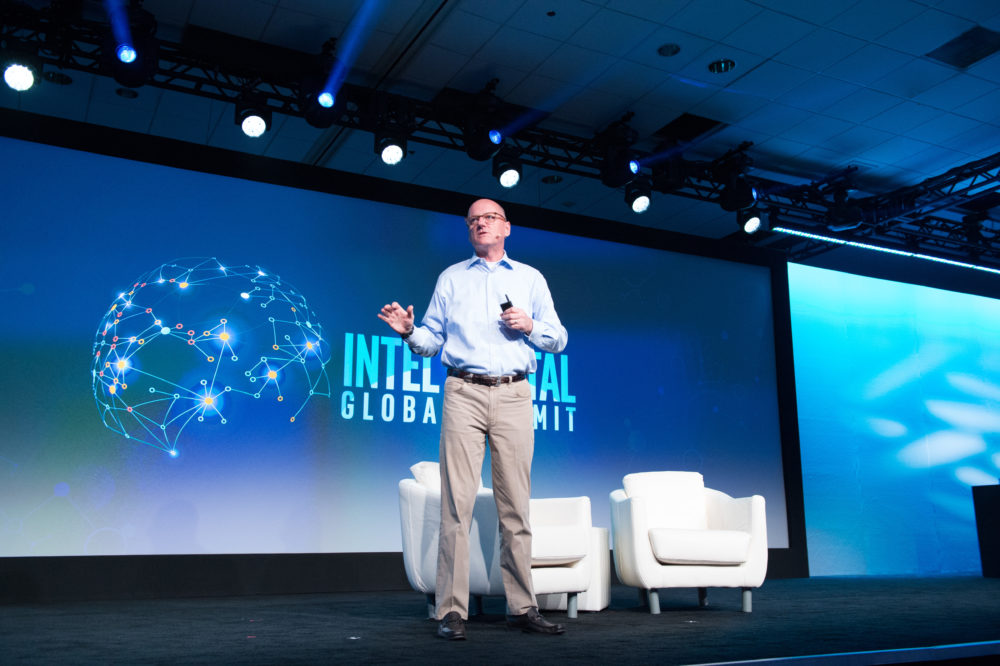 Intel Capital President Wendell Brooks presents at the 18th annual Intel Capital Global Summit in Palm Desert on Tuesday, May 8, 2018. The 2018 Intel Capital Global Summit takes place May 8-10 in Palm Desert, California. (Credit: Intel Corporation)
