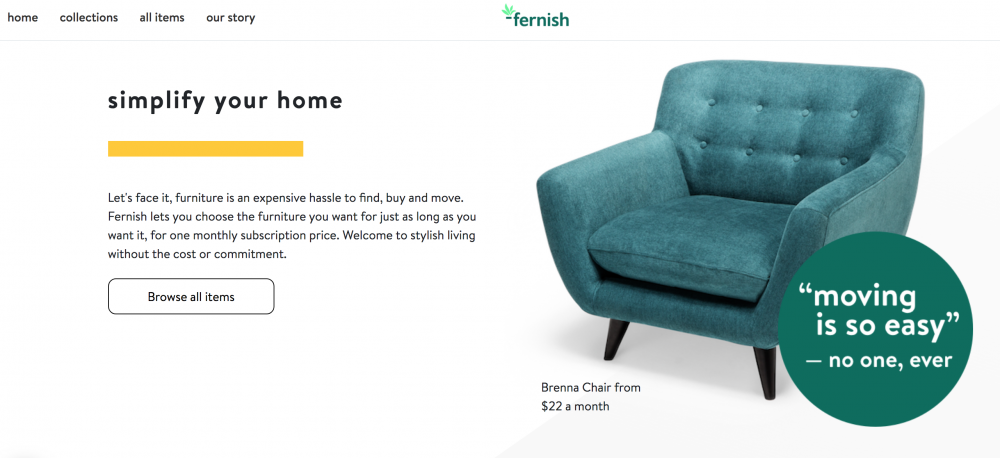 Furniture Subscription Service (Image: Fernish)