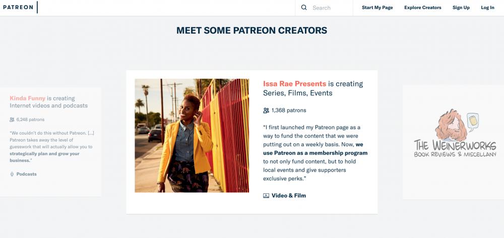 Content Creators including, Issa Rae (Image: Patreon)